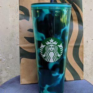 NWT Starbucks Teal Green Marble Tumbler